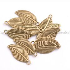 Tibetan Silver Carved Leaves Shaped Charm Plated Pendant Jewelry Crafts E3144