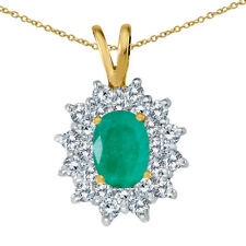 "14k Yellow Gold Oval Emerald Pendant With Diamonds and 18"" Chain"