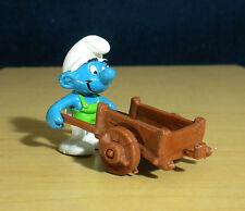 Smurfs Gardener Super Smurf Wheelbarrow W Germany Vintage Figure Toy PVC 40206
