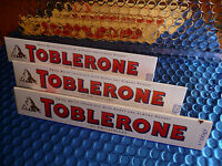 3 x TOBLERONE WHITE Swiss Chocolate Bar with Honey & Almond Nougat 100g 3.5oz
