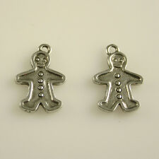 Gingerbread Man - 5 Lead Free Antique Silver Tone Pewter Charms