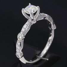 Hearts On Fire Dream Princess cut Diamond Ring AGS Certified 14k White Gold