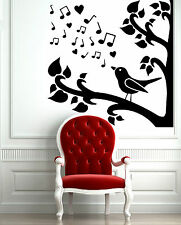Wall Stickers Vinyl Decal  Bird Branch Nature Fauna Singing Tree Music  ig053