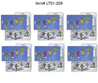 SET OF 6 - Lenticular Flip Luggage Bag Travel Tag Winter Skiers Snow #LT01-209#