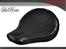 "La Rosa Harley Cross Bones Solo Seat - 16"" Black Alligator Emboss Leather Custom"