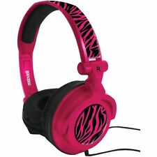 Maxell AMPlified Heavy Bass Adjustable Stereo Headphones 40mm Microphone Pink