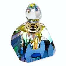 Rounded Pyramid Perfume Essential Oil Rainbow Vitrail Finish Faceted Cut Bottle