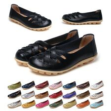 2017 Womens Casual Boat Shoes Slip On Ballet Flats Loafers Single Hollow Shoes
