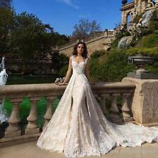 Vintage Champagne Mermaid Wedding Dresses Detachable Train Lace Bridal Gown 2017