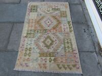 Kilim Old Traditional Hand Made Afghan Oriental Blue Green Wool Kilim 156x96cm