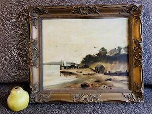 Antique Hudson River Landscape w/ Dock Boats Sailboats Birds Seascape NY MA ME