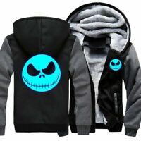 Men's Hoodies Sweatshirt Jack Skellington Luminous Thicken Jacket Zipper Coat
