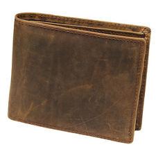 New Men Genuine Leather Bifold Brown Vintage Coin Purse Short Card Holder Wallet