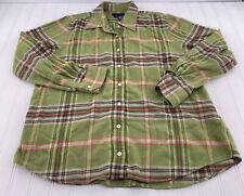 Lands End Womens Multicolor Plaid Lined Flannel Button Down Shirt Size L 14-16