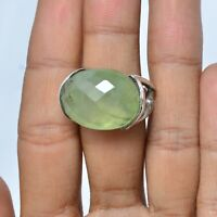 Prehnite Gemstone Indian Handmade Jewelry 925 Solid Sterling Silver Ring Size 7