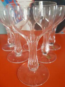 """6 anciennes coupe à champagne en cristal de  portieux dite """"jambe creuse"""""""