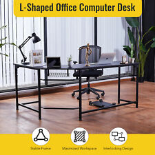 L Shaped Black Office Desk With Tower Shelf Cable Management 47x19 66x19 Sides