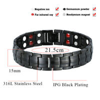 1X Hottime Titanium Steel Magnetic Far Therapy Negative Ion Bracelet Pain Relief