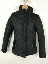 WOMENS ATMOSPHERE PRIMARK BLACK ZIP UP DIAMOND QUILTED COAT JACKET SIZE UK 8
