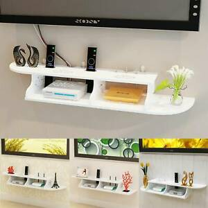 Floating Wall Mount Console TV Media Shelf DVD Carved  Tidy Storage Holder