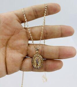 """10k Solid Gold Valentino Necklace 20"""" & Pendant- Cadena De Oro Y Dije San Judas"""