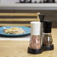 Evelyne Salt And Pepper Grinders Set & Tray Adjustable Ceramic Coarseness Mill