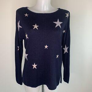 FAT FACE • Navy & Grey Star Wool Blend Jumper • Size 10