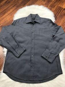HUGO BOSS BLACK DRESS LONG SLEEVE SHIRT PLAID MENS SZ M