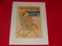 [ART 20th] TOULOUSE-LAUTREC LITHOGRAPHY Woman Deckchair Reprint Ca 1960 69x53