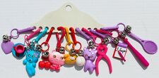 12 VINTAGE 1980's RETRO PLASTIC CLIP-ON CHARMS w/JINGLE BELLS~NEW~OLD STOCK LotD