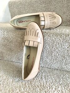Dolcis Loafers Uk 4 Nude Patent Faux Leather Flat Shoes Women's Beige Pumps