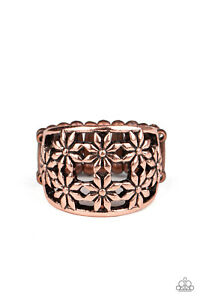 Crazy About Daisies Copper Daisy Floral Flower Adjustable Stretch Ring Paparazzi