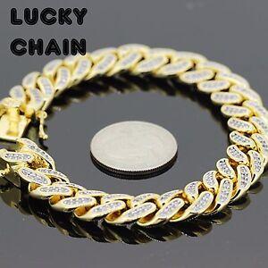 "8.2""18K GOLD FINISH BLING OUT LAB DIAMOND CUBAN LINK BRACELET 12mm 60g"
