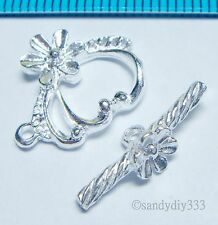 1x STERLING SILVER BRIGHT FLOWER TOGGLE CLASP 14.5mm N307
