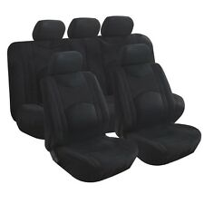 9pcs New Universal Black Airbag Split Bench Headrest Front & Rear Seat Covers