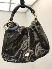 Authentic JIMMY CHOO Sky Hobo Bag Dark Brown Black Multi Patent Leather
