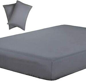 Vaulia Lightweight Soft Microfiber Sheets, Grey Color King Size, 3-Piece Set (1