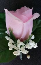 Rose Boutonniere Corsage Pink  Groom Best man *Prom *Party *Quinceanera wedding