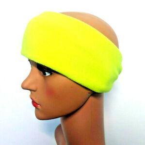 NEON YELLOW FLUORESCENT PPE BRIGHT Headband Fleece Ear Muff Warmer Hat Adults