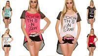 T-shirt donna maglia maglietta asimmetrica pop rete bicolore top sexy nuova