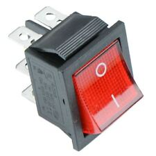Red illuminated On-Off Rectangle Rocker Switch 220V DPDT