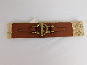 Fossil Macrame Stretch & Leather Wide Waist Belt Tan-Beige Size Medium #4292