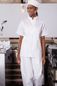 Uncommon Threads Mandarin Collar Utility Chef Shirt, White, XS to 2XL, 0921