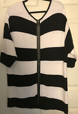 Lane Bryant Black White Wide Stripe Sweater 14/16 Zip Front Knit Cardigan