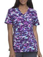 NWT Scrubstar Free Form Purple Mock Wrap Printed Scrub Uniform Top Nurse Vet