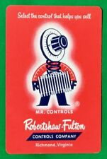 Playing Cards Single Card Old ROBERTSON FULTON Advertising Art MR CONTROLS Man 1
