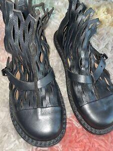 TRIPPEN Germany - Women's Leather Ankle Boots NETS black EU37