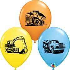 "5 x Children's Construction Trucks & Diggers  11"" Latex Balloons  Qualatex"