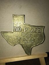 "Pre-owned ~ ""No Place But Texas"" Brass Trivet State Shaped Decor Solid Brass 6"""