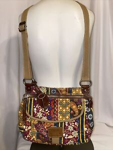 Fossil Canvas Crossbody Bag Purse Pocketbook Long Live Floral Vintage